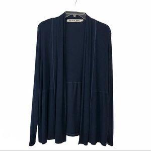 Michael Stars Blue Rib Shawl Collar Cardigan OS